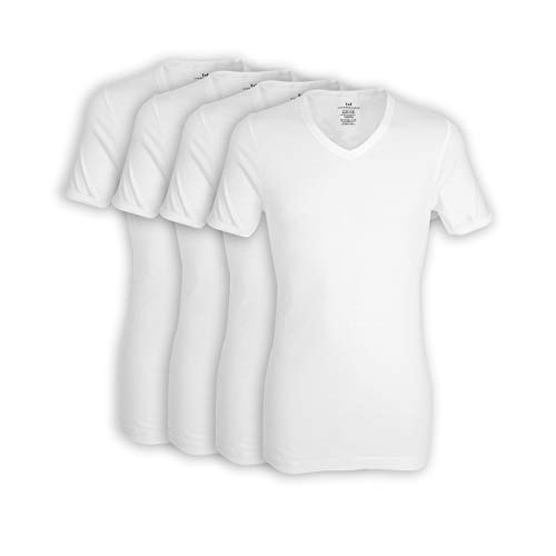 Götzburg 4er Pack Herren Kurzarm Business Unterhemd mit V-Ausschnitt 7