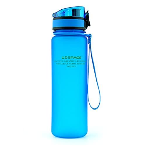 HIZQ Botella De Agua Deportiva, Botella De Agua A Prueba De Fugas Botella De Gimnasio, Sin BPA Botella De Agua para Deportes De Gimnasio para Adultos Aplicable Oficina,Azul,500ml