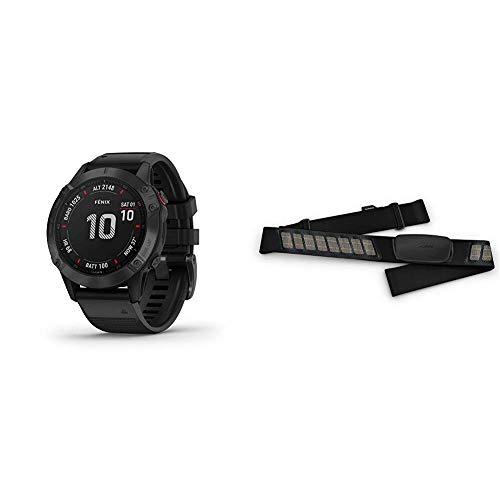 Garmin Fenix 6 Pro, Premium Multisport GPS Watch, Features Mapping, Music, Grade-Adjusted Pace Guidance and Pulse Ox Sensors, Black Bundle with Garmin HRM-Dual Heart Rate Monitor