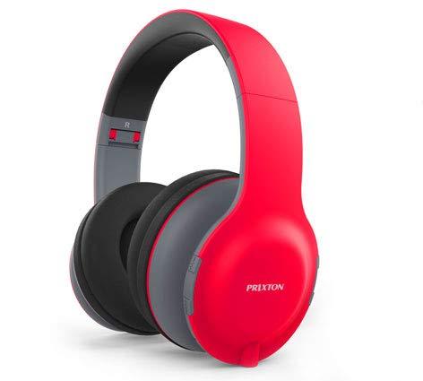 PRIXTON - Auriculares De Diadema Ab202 Rojo Bluetooth