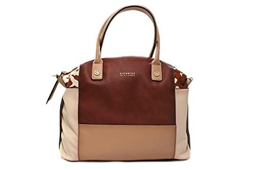 Hispanitas - BI211738 Cuero - Bolso shopper, cierre de cremallera, para: Mujer color: CUERO talla:U