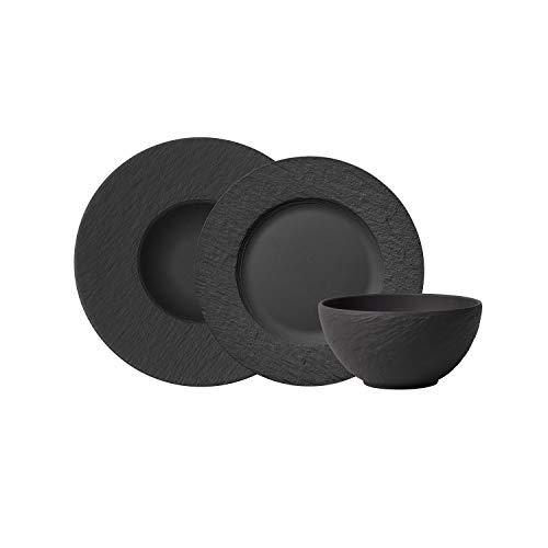 Villeroy und Boch - Manufacture Rock Starter-Set 6 tlg., Premium Porzellan, spülmaschinen-, mikrowellengeeignet, schwarz
