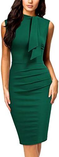Miusol Women s Retro 1950s Style Half Collar Ruffle Cocktail Pencil Dress Large Dark Green product image