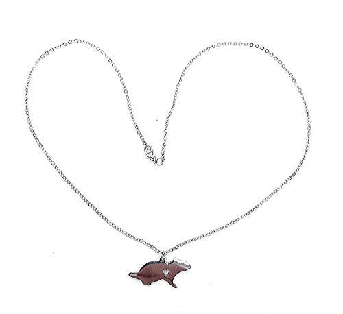 RatsLive Damen Halskette Ratte als Anhänger mit Hertz, Kette 51 cm
