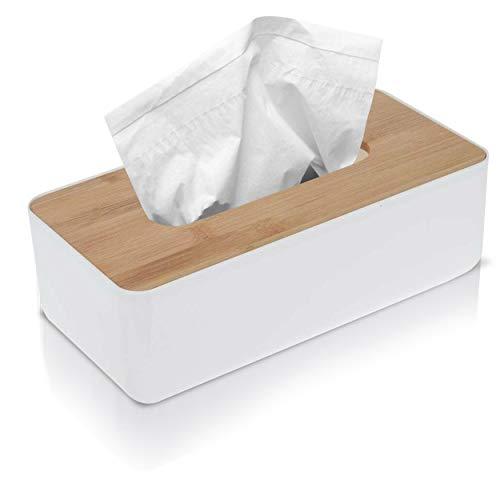 1x Kosmetiktücherbox rechteckig bruchfest Weiß mit Deckel aus Bambus - 26x13x8cm Tücherbox tragbar für Taschentücher Feuchttücher Kosmetiktücher aus Kunststoff Holz (Weiß, 1 Stück)