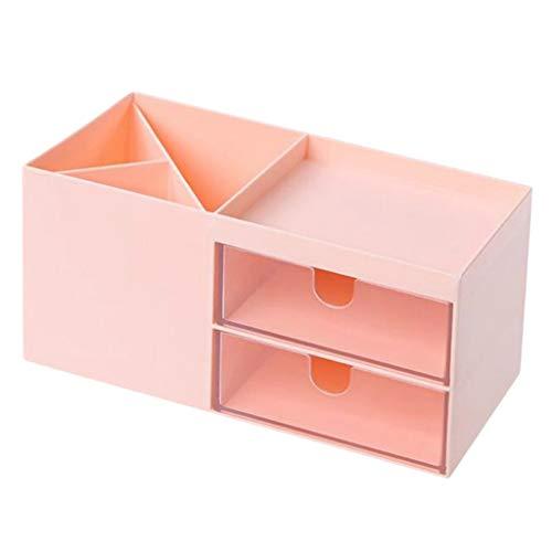 Fenteer Tisch Schreibtisch Organizer mit Fächern und Schubladen, Desktop Aufbewahrungsbox Stiftebox für Wohnzimmer/Auto/Büro/Hotel - Rosa