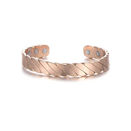 Rose Gold Copper Magnetic Bracelets For Men Women Therapy Arthritis Healing Joint Pain Relief Bangel Aid 6 Powerful Magnets (S)