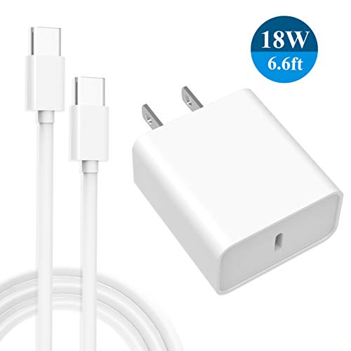 """USB C Charger 18W-PD Wall Charger for iPad Pro 11""""/12.9"""", Google Pixel 3 3a 3XL 4 4a 4XL 5, New Fire HD 8/10, Kids Edition Tablets, Galaxy S10 S9 and More-6.6FT Type C Charger Cable"""