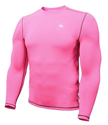 Running Shirts Men Long Sleeve Sun Protection(L,Neon Pink)