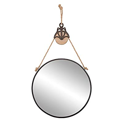 """Patton Wall Decor 24"""" Round Metal Hanging Rope and Antique Pully Wall Mounted Mirrors, Black - This rustic round wall mirror lends clean, simple style with nautical inspired design like it's jute rope hanging rope and antique inspired pully Framed in a sleek iron frame, this mirror is finished in a matte black finish 3 ply jute rope offers style and functionality with metal and wood pully attachment accents - mirrors-bedroom-decor, bedroom-decor, bedroom - 313bw9GJTCL. SS400  -"""