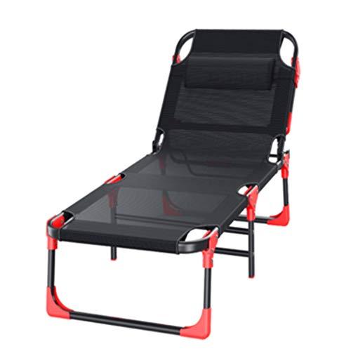 Ppy778 Lit Pliant Maison Lit Simple Bureau Lit de déjeuner Été Chaise Longue en Plein air Plage Portable Chaise Longue Lounge ( Color : Black , Size : 178*67*30CM )