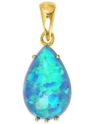 MyGold edelsteen hanger (zonder ketting) geel goud 333 goud met opaal triplette druppel kettinghanger dames hanger Ajanta V0005490