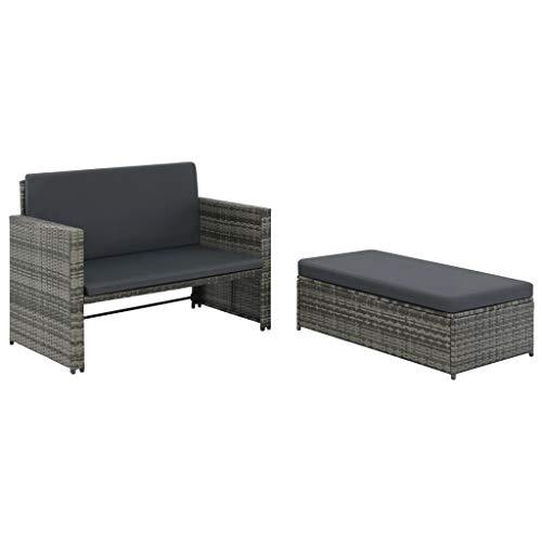 Tidyard 2-TLG. Garten-Lounge-Set mit Auflagen Poly Rattan Grau Garden Sofa Set 5 Pieces Rattan Balcony Furniture Garden Chair Poly Rattan