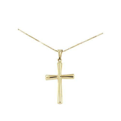 Lucchetta - Cruz para Mujer en Oro Amarillo - Collar de Oro Amarillo con Cruz