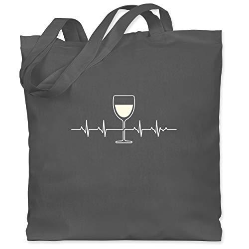 Shirtracer Symbole - Herzschlag Weißwein - Unisize - Dunkelgrau - wein jutebeutel - WM101 - Stoffbeutel aus Baumwolle Jutebeutel lange Henkel