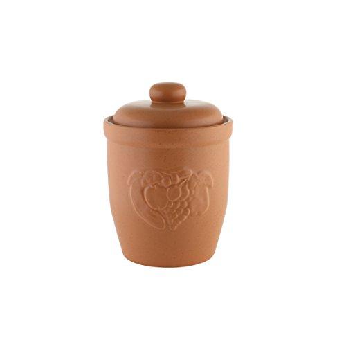 axentia Mehrzwecktopf 20 cm - Keramiktopf mit Deckel - Rumtopf in Braun - Einlegetopf aus Keramik - Steinzeugtopf zum Einlegen - Gurkentopf mit Reliefdekor, 7 Liter