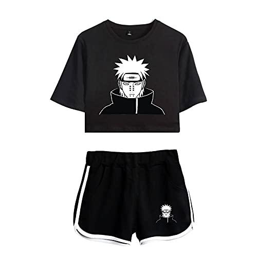 JDSWAN Mujer 2 Piezas Conjunto de Chándal Hokage-Ninja Naruto Uzumaki Impreso Manga Corta Crop Tops Camiseta + Pantalones Cortos Deportivos Trajes Pijama Verano para Fans de Naruto Anime