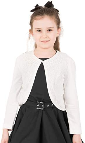 BlackButterfly Kids Long Sleeve Lace Bolero Cardigan Childrens Girls Shrug Ivory 9 10 YRS product image