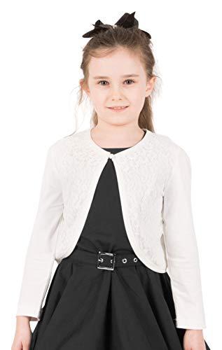 BlackButterfly BlackButterfly Kinder Langarm Bolero aus Spitze Strickjacke Mädchen (Elfenbein, 11-12 Jahre)