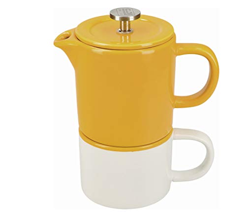 La Cafetière Barcelona Small Cafetiere and Coffee Mug Set, Ceramic, Mustard Yellow, 2 Pieces