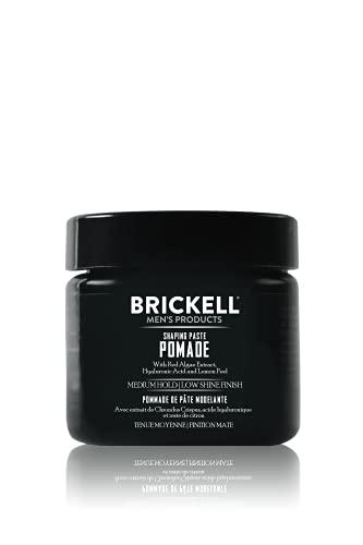 Brickell Men's Pomada de pasta moldeadora para hombres, natural, pomada de cera texturizante, 2 onzas, perfumada