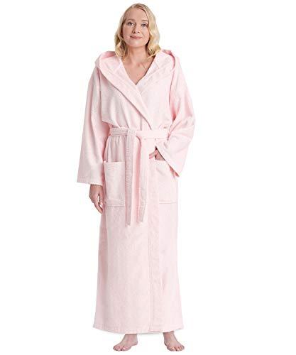 Arus Bademantel-Astra, für Damen und Herren mit Kapuze, wadenlang, 100% Flauschige Baumwolle Frottee, auch als Hausmantel Morgenmantel Saunamantel Größe: S/M, Farbe: Rosa