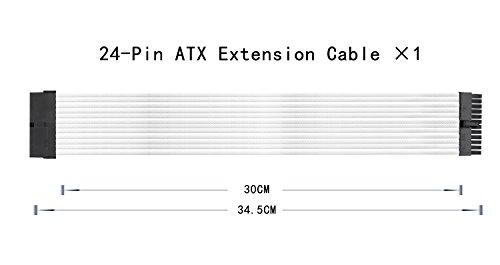 upHere Sleeved Cable - Kabelverlängerung für die Stromversorgung mit extrahüller 24 PIN 8PIN 6PIN 4 + 4 PIN - Weiß,SC304