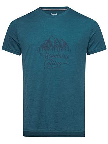 super.natural M Graphic T-Shirt à Manches Courtes pour Homme S Legion Blue Melange/Navy Blazer