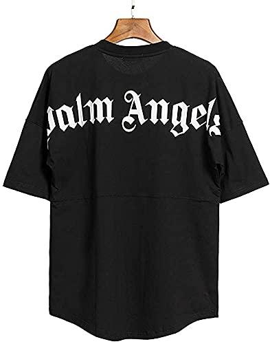 Herren und Damen T-Shirt Palm Angel Kurzarm-Casual-Buchstaben mit Rundhalsausschnitt aus Baumwoll-Fledermausärmeln, Sommeroberteile, Kurze Ärmel, Hemden mit kreativen Buchstaben (Schwarz, L)