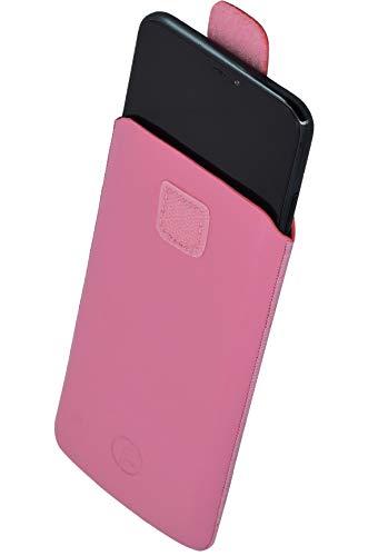Favory Tasche Etui kompatibel mit TIPTEL Ergophone 6260 Hülle aus echtes Leder Schutzhülle (Lasche mit Rückzugfunktion) in rosa