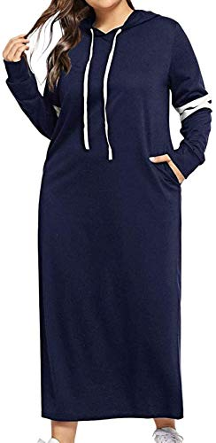Women Hoodie Long Sleeve Contrast Striped Drawstring Pockets Dress Pullover,Blue,X-Large