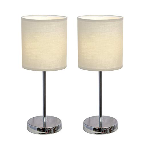 Table Lamp in Chrome and White - Set of 2