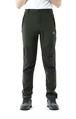 PECTNK Los Pantalones al Aire Libre de los Hombres Que Son de Fleece Impermeable de cáscara Blanda 815A Ejercito Verde L