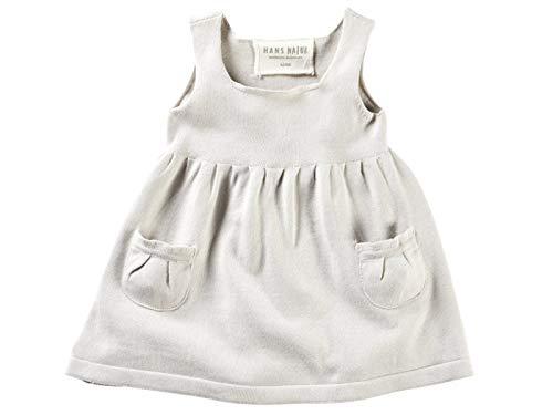 Bio Baby und Kinder Strickkleid 100% Bio-Baumwolle (kbA) GOTS zertifiziert, Hellgrau Melange, 122/128