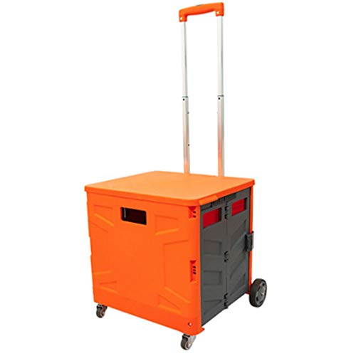 WPCBAA Four-wheel folding shopping cart trolley 3 section adjustment trolley 65L large capacity bearing heavy luggage cart (Color : Orange gray, Size : L)