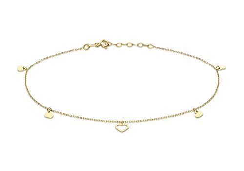 Carissima Gold Pulsera de Tobillo Ajustable Corazón Abierto y Cerrado 4.8mm x 4mm Oro Amarillo 9 Quilates para Mujer de 23cm/9'-25.5cm/10'