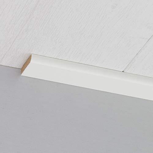 Abdeckleiste Abschlussleiste Sockelleiste Rundprofil aus MDF in Weiß 2600 x 6 x 25 mm