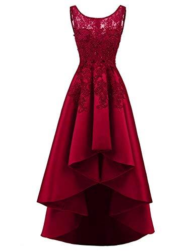 HUINI Elegant Abendkleider Ärmellos Spitzenkleider Vintage Cocktail Partykleider Wadenlang Satin Brautkleider Hochzeitskleider Burgund 40