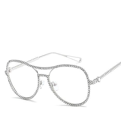 Occhiali da vista rotondi unisex retrò con zirconi lucidi, occhiali con montatura in metallo lenti Occhiali da lettura geek vintage, occhiali ottici classici Vogue senza prescrizione