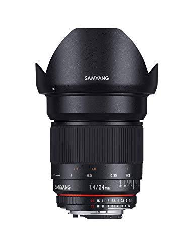 Samyang 24/1,4 Objektiv DSLR Nikon F AE manueller Fokus automatischer Blendenring Fotoobjektiv, Weitwinkelobjektiv schwarz