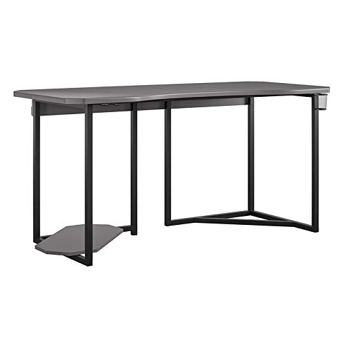 Ameriwood Home NTense Quest Gaming Computer Desk with CPU Stand Shelf, Cup Holder in Gray, 59' Wide