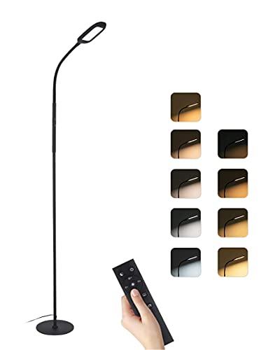 Lámpara de Pie,126 LEDs Lámpara de Pie Salon,4 Color Temperatura,6 Modos de Escena,Infinito Regulable,Control Remoto y Control Táctil,Luz de Lectura Desmontable para Salón,Dormitorio,Oficina