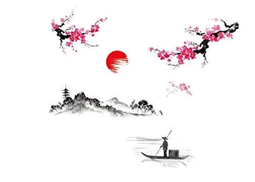 COVPAW® Wandtattoo Wandaufkleber XXL Chinesische Malerei Gemälde Wandsticker Wandbild Bilder Wohnzimmer Schlafzimmer Deco