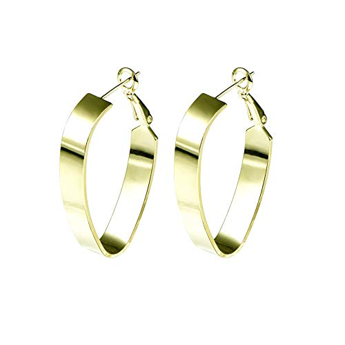 Yumay 9ct Gold Creole Hoops Earrings with Fashion Shape for Women and Girls.