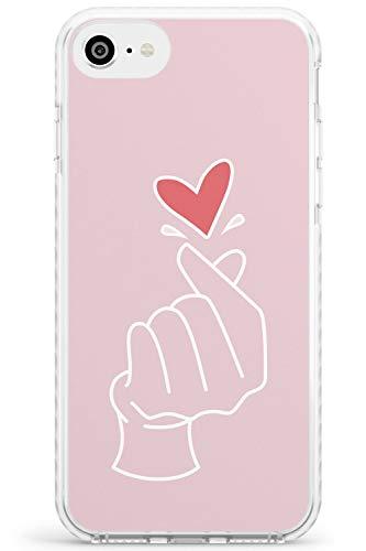 Finger Cuore nel Colore Rosa - Gesto di Mano Icone Impact Cover per iPhone 7 Plus TPU Protettivo Phone Leggero con Mano Gesto K-Pop Amore Coreano