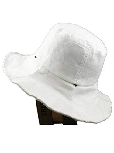 Sombrero de señoras Primavera y Verano Gran Alambre de Acero Alambre Sol Sombrero algodón y Lino británico Pescador Sombrero Retro Playa Sombrero-Metro_W12