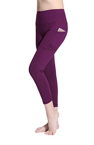 Lotus Instyle Damen Yoga Sport Leggings Capri Hose mit Taschen Wine Red-L