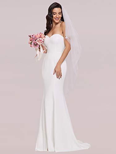 Ever-Pretty Vestido de Boda sin Tirantes Largo para Mujer Sirena Corte Imperio Elegant Blanco 38