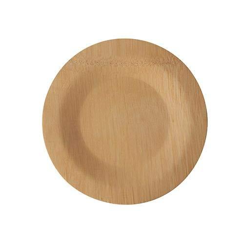 Papstar 88039 - Platos de bambú sin dividir (diámetro de 18 cm, 1,5 cm, 10 unidades)