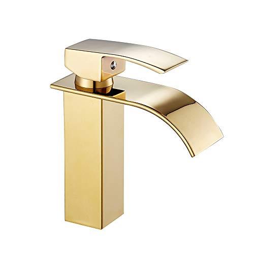 Grifo mezclador de cascada para lavabo dorado con grifo de baño o lavabo para bidé con una sola palanca de latón cromado para agua caliente y fría (dorado)